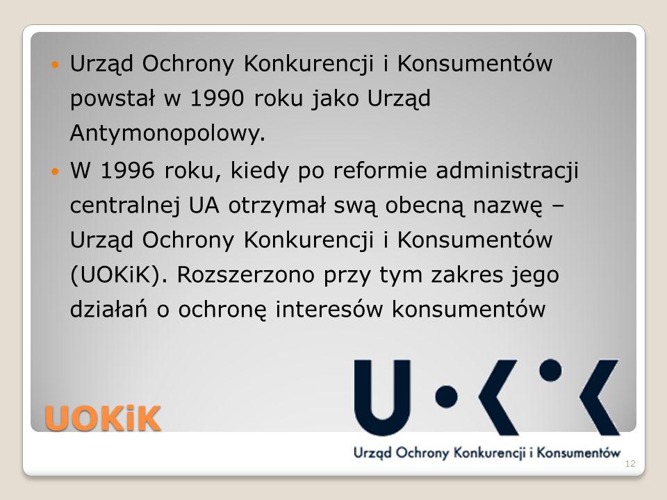 Urząd Ochrony Konkurencji i Konsumentów powstał w 1990 roku jako Urząd Antymonopolowy.