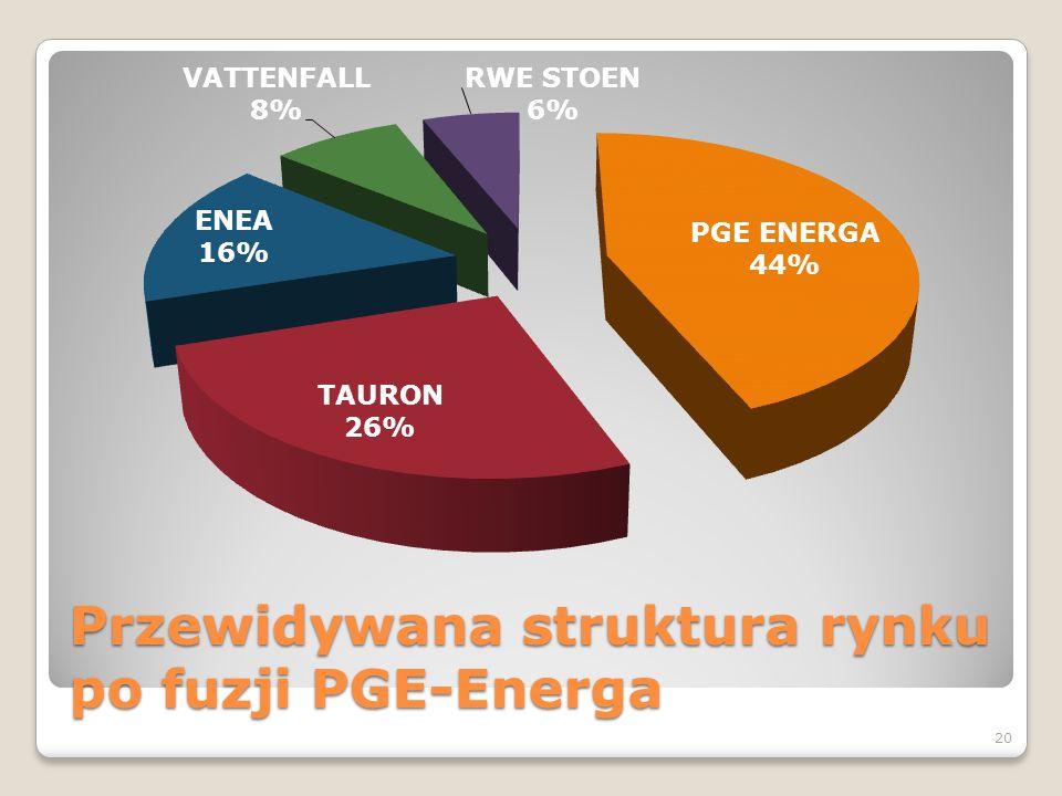 Przewidywana struktura rynku po fuzji PGE-Energa