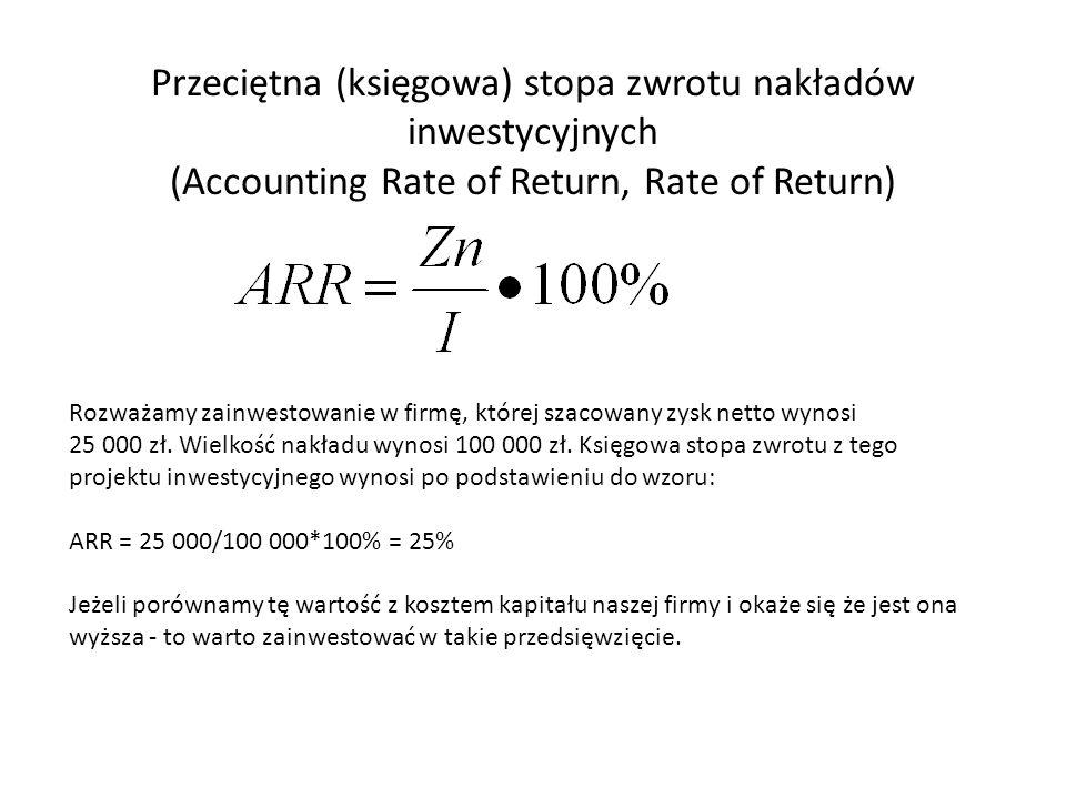 Przeciętna (księgowa) stopa zwrotu nakładów inwestycyjnych (Accounting Rate of Return, Rate of Return)