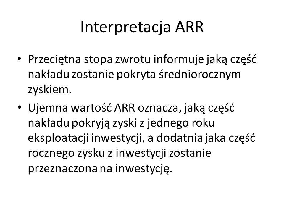 Interpretacja ARR Przeciętna stopa zwrotu informuje jaką część nakładu zostanie pokryta średniorocznym zyskiem.