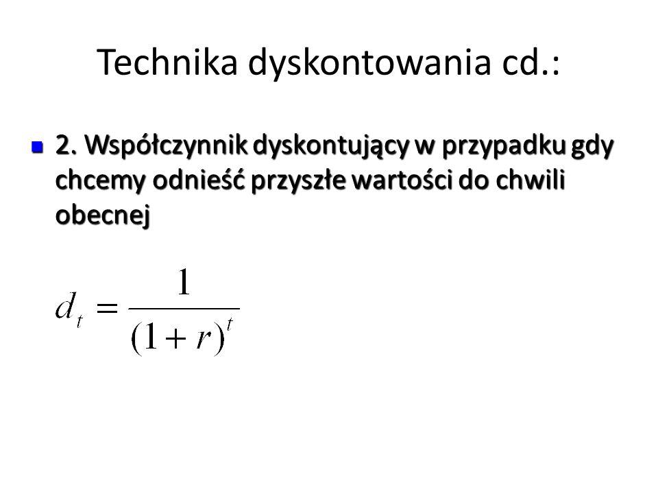 Technika dyskontowania cd.: