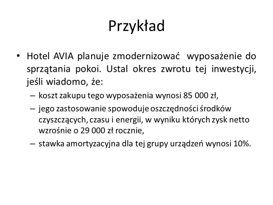 Przykład Hotel AVIA planuje zmodernizować wyposażenie do sprzątania pokoi. Ustal okres zwrotu tej inwestycji, jeśli wiadomo, że: