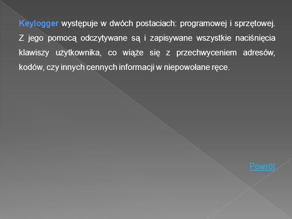 Keylogger występuje w dwóch postaciach: programowej i sprzętowej