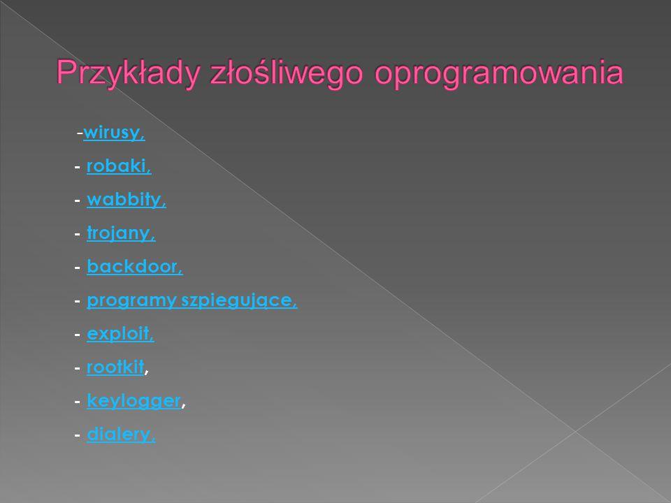 Przykłady złośliwego oprogramowania