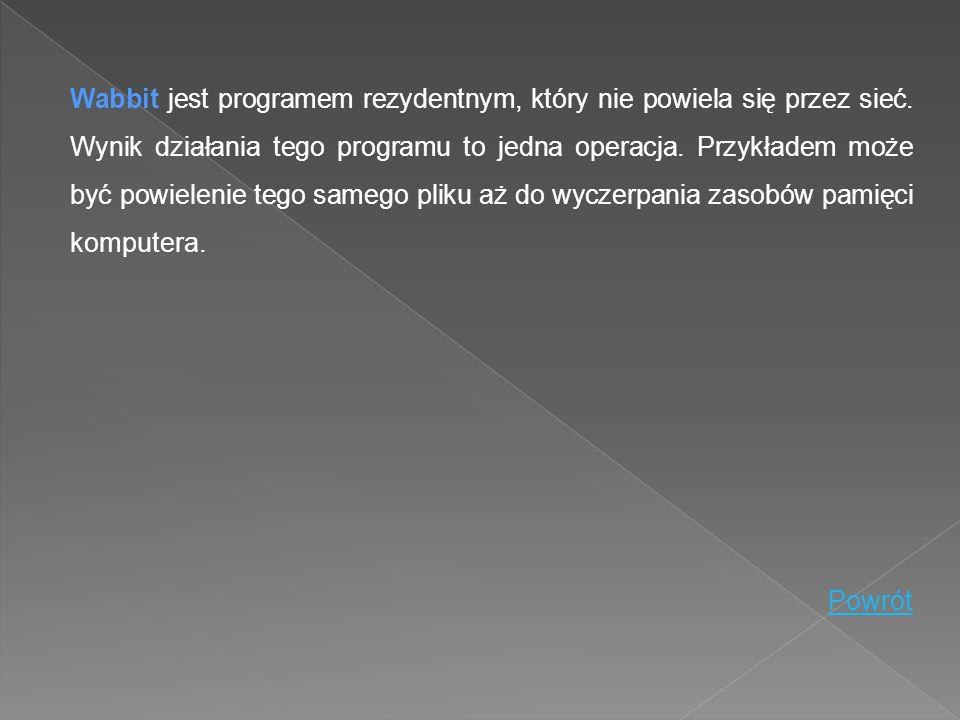 Wabbit jest programem rezydentnym, który nie powiela się przez sieć