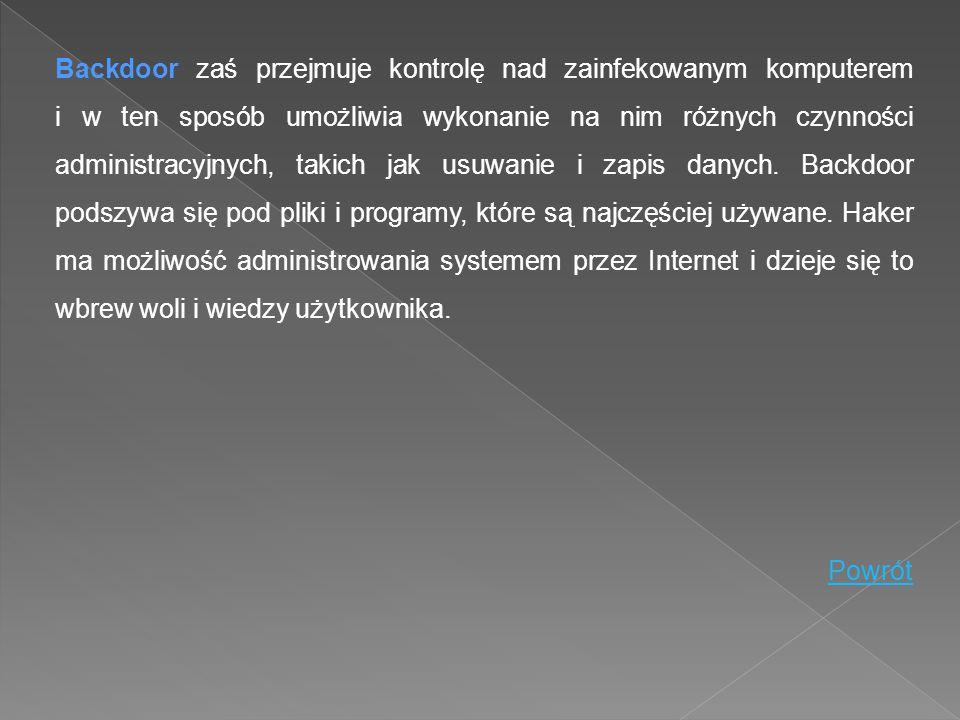Backdoor zaś przejmuje kontrolę nad zainfekowanym komputerem i w ten sposób umożliwia wykonanie na nim różnych czynności administracyjnych, takich jak usuwanie i zapis danych. Backdoor podszywa się pod pliki i programy, które są najczęściej używane. Haker ma możliwość administrowania systemem przez Internet i dzieje się to wbrew woli i wiedzy użytkownika.