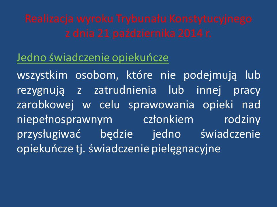 Realizacja wyroku Trybunału Konstytucyjnego z dnia 21 października 2014 r.