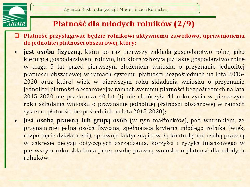 Płatność dla młodych rolników (2/9)