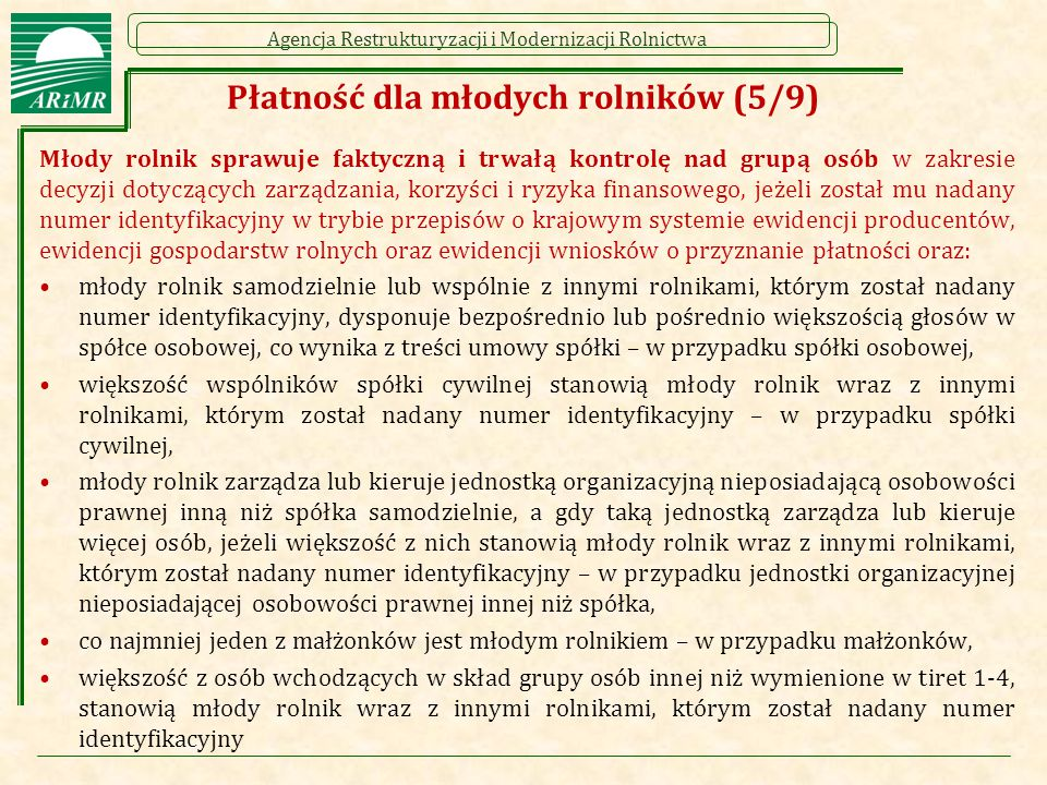 Płatność dla młodych rolników (5/9)