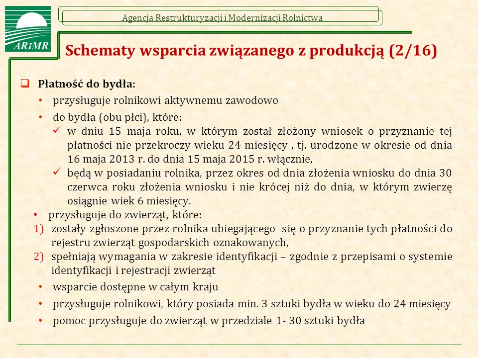 Schematy wsparcia związanego z produkcją (2/16)