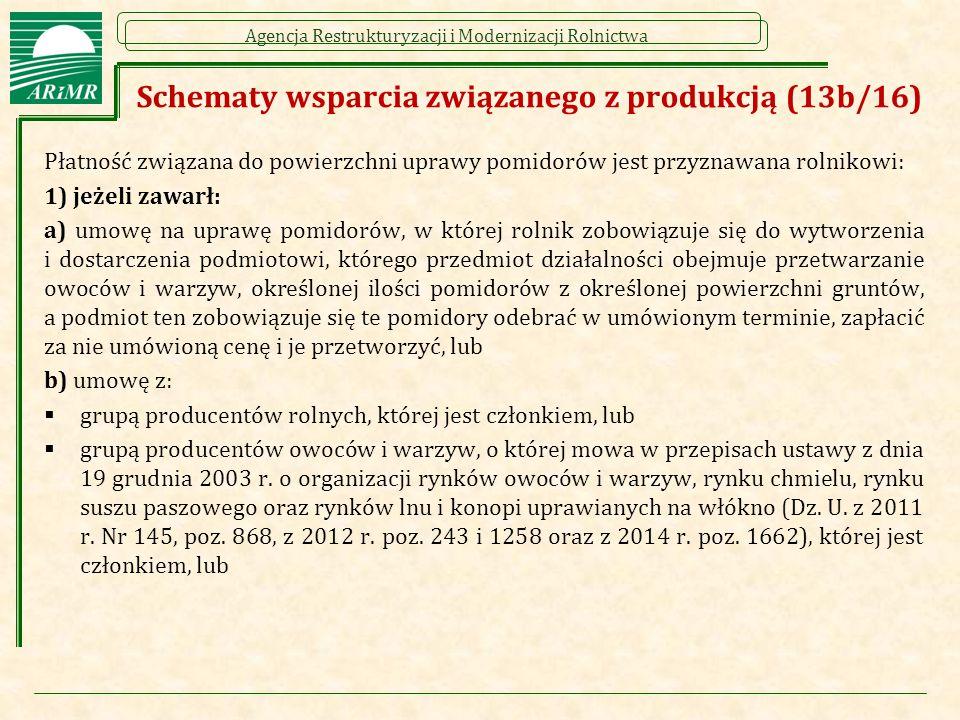 Schematy wsparcia związanego z produkcją (13b/16)