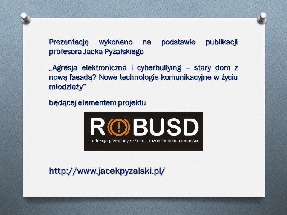Prezentację wykonano na podstawie publikacji profesora Jacka Pyżalskiego