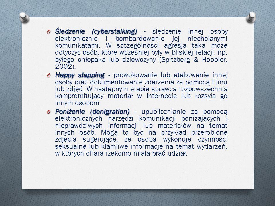 Śledzenie (cyberstalking) - śledzenie innej osoby elektronicznie i bombardowanie jej niechcianymi komunikatami. W szczególności agresja taka może dotyczyć osób, które wcześniej były w bliskiej relacji, np. byłego chłopaka lub dziewczyny (Spitzberg & Hoobler, 2002).
