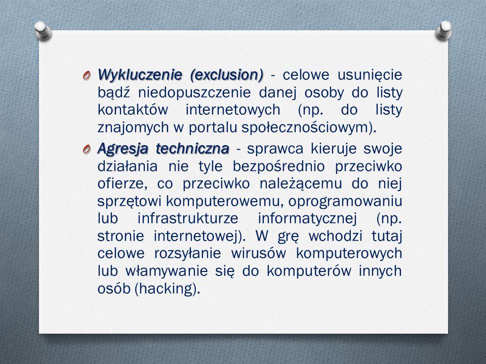 Wykluczenie (exclusion) - celowe usunięcie bądź niedopuszczenie danej osoby do listy kontaktów internetowych (np. do listy znajomych w portalu społecznościowym).