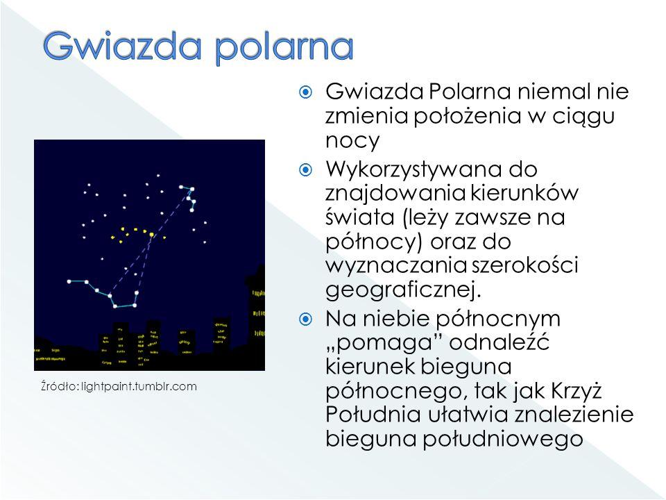 Gwiazda polarna Gwiazda Polarna niemal nie zmienia położenia w ciągu nocy.