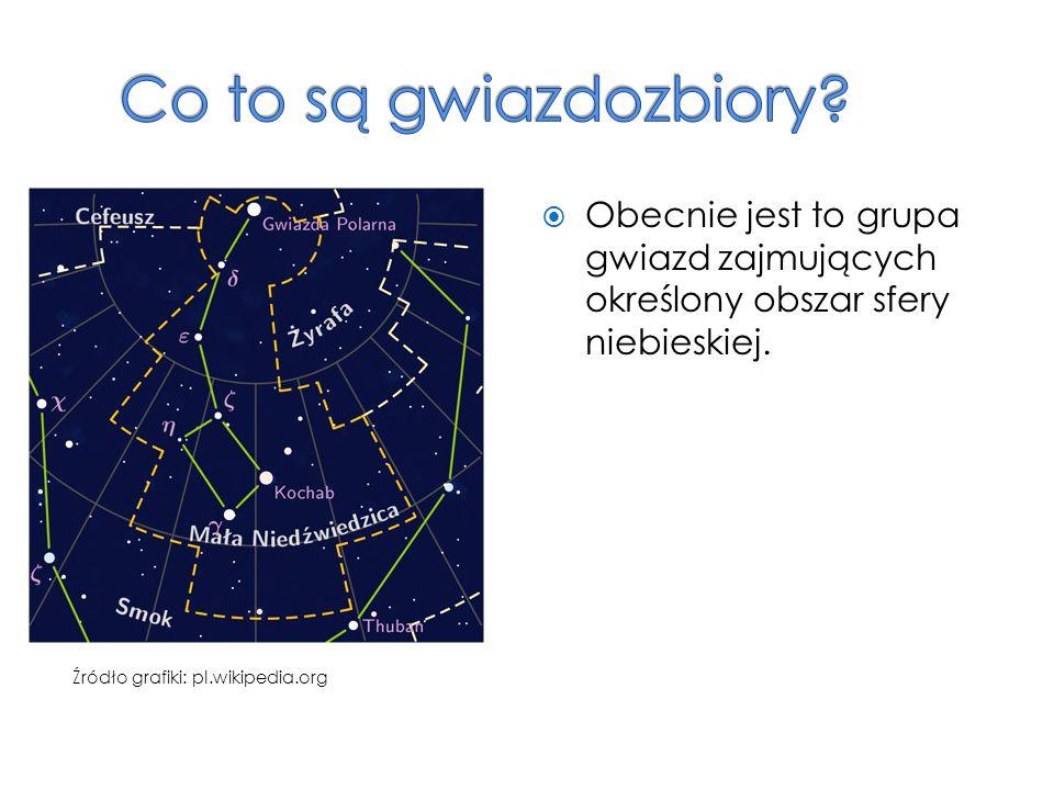 Co to są gwiazdozbiory Obecnie jest to grupa gwiazd zajmujących określony obszar sfery niebieskiej.