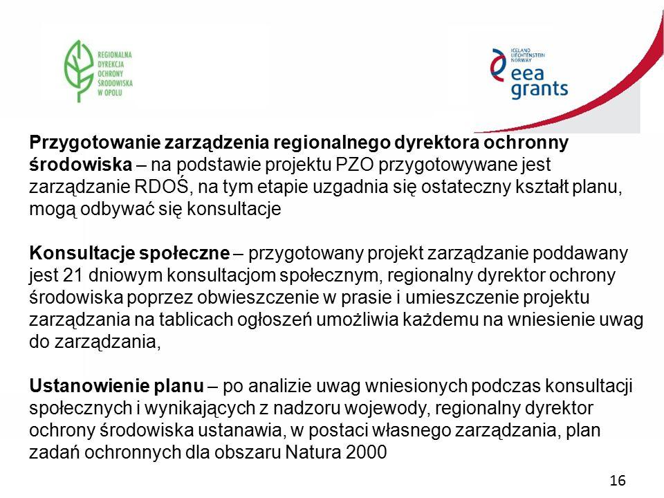 Przygotowanie zarządzenia regionalnego dyrektora ochronny środowiska – na podstawie projektu PZO przygotowywane jest zarządzanie RDOŚ, na tym etapie uzgadnia się ostateczny kształt planu, mogą odbywać się konsultacje