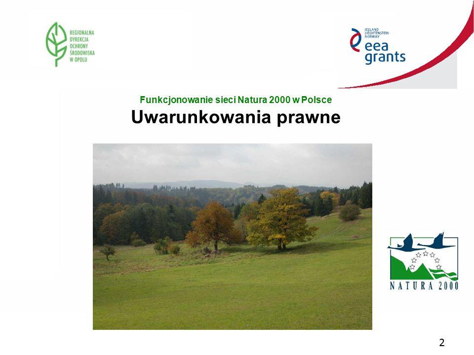 Funkcjonowanie sieci Natura 2000 w Polsce Uwarunkowania prawne