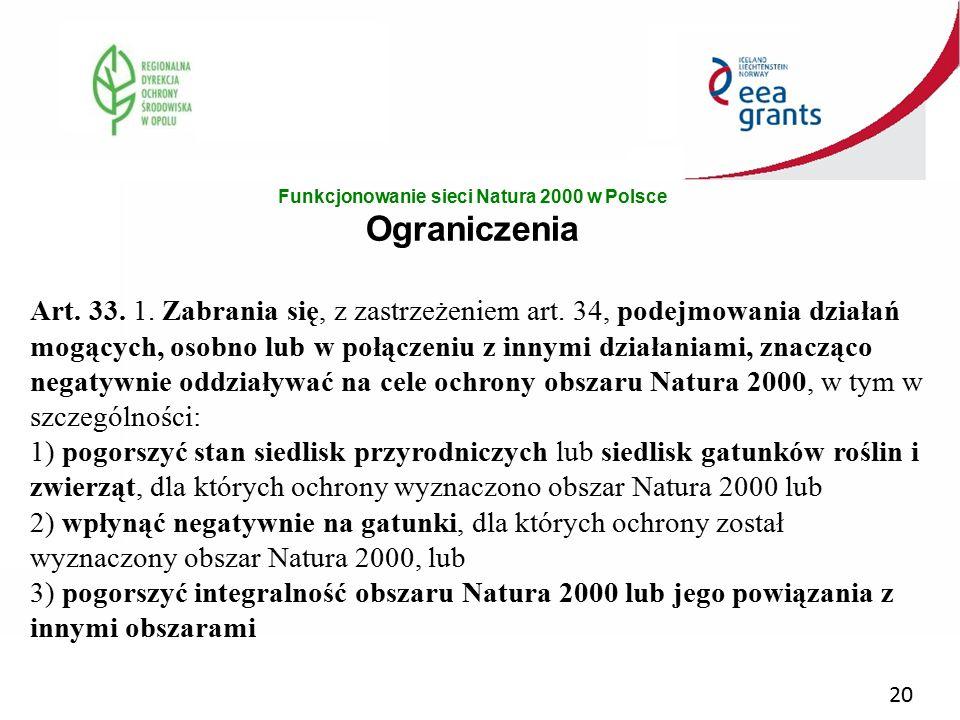 Funkcjonowanie sieci Natura 2000 w Polsce Ograniczenia