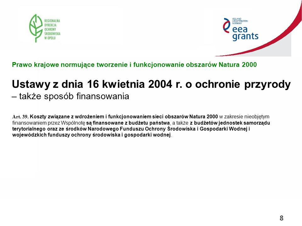 Prawo krajowe normujące tworzenie i funkcjonowanie obszarów Natura 2000