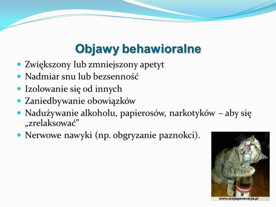 Objawy behawioralne Zwiększony lub zmniejszony apetyt