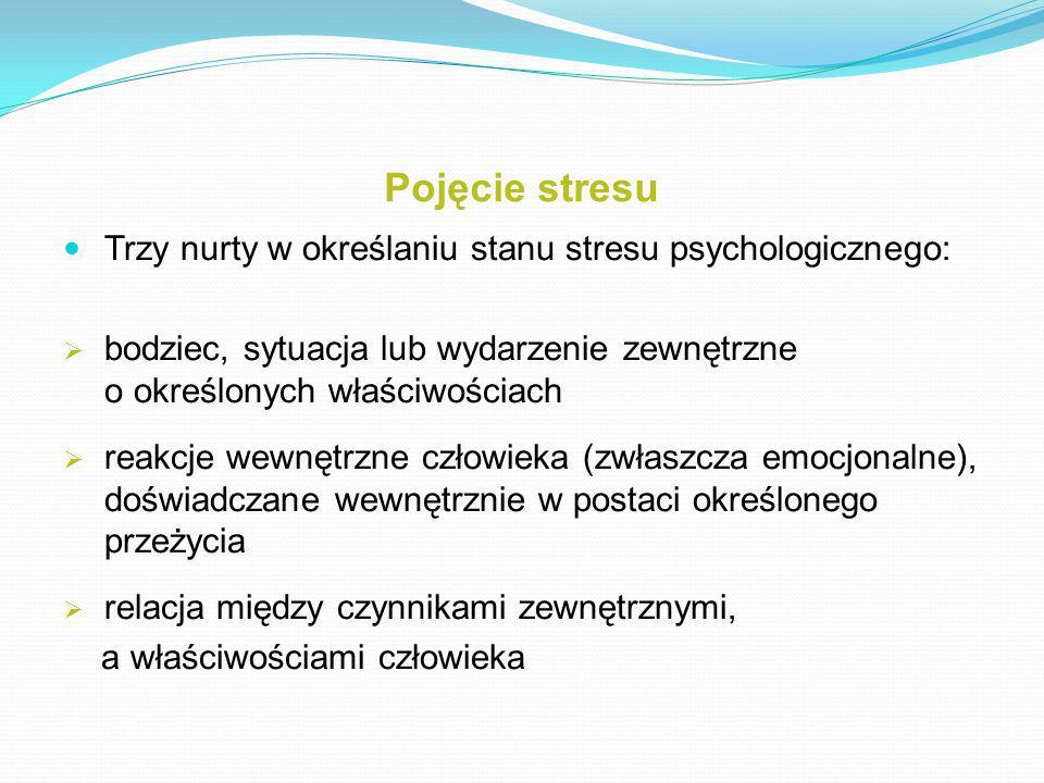 Pojęcie stresu Trzy nurty w określaniu stanu stresu psychologicznego: