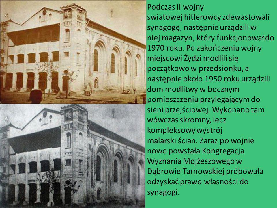 Podczas II wojny światowej hitlerowcy zdewastowali synagogę, następnie urządzili w niej magazyn, który funkcjonował do 1970 roku.
