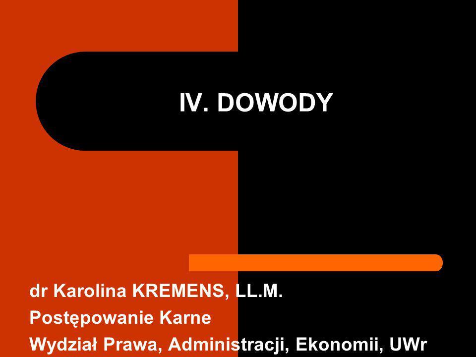 IV. DOWODY dr Karolina KREMENS, LL.M. Postępowanie Karne