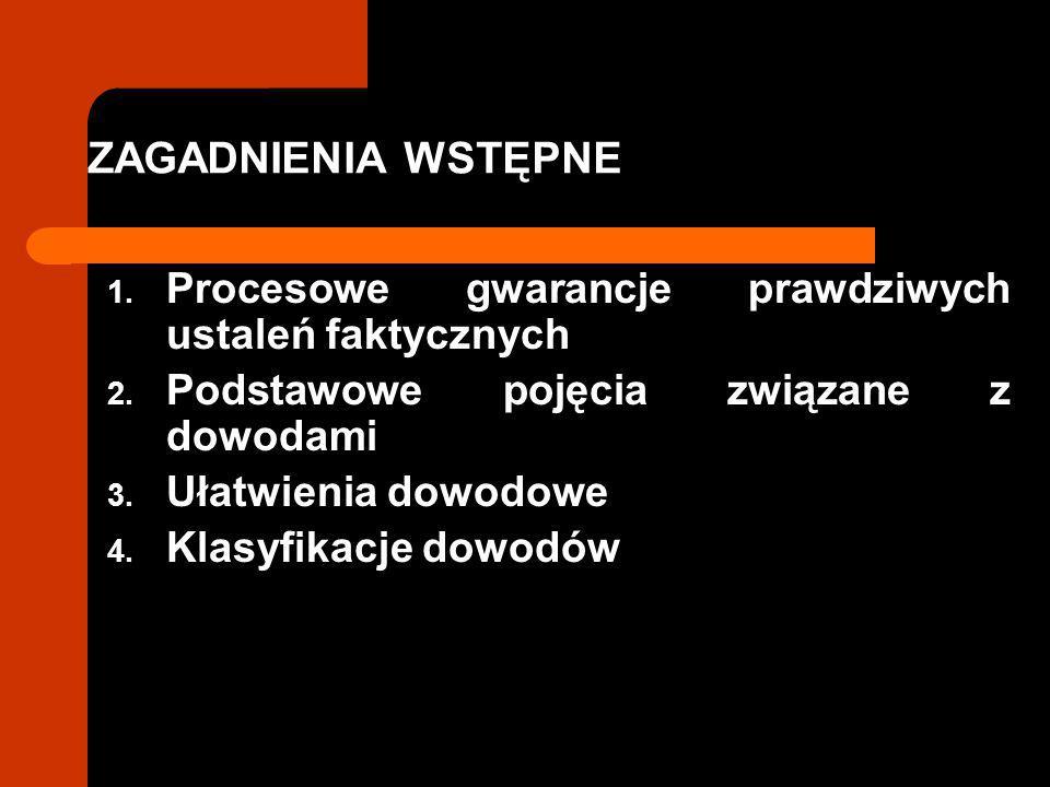 ZAGADNIENIA WSTĘPNE Procesowe gwarancje prawdziwych ustaleń faktycznych. Podstawowe pojęcia związane z dowodami.