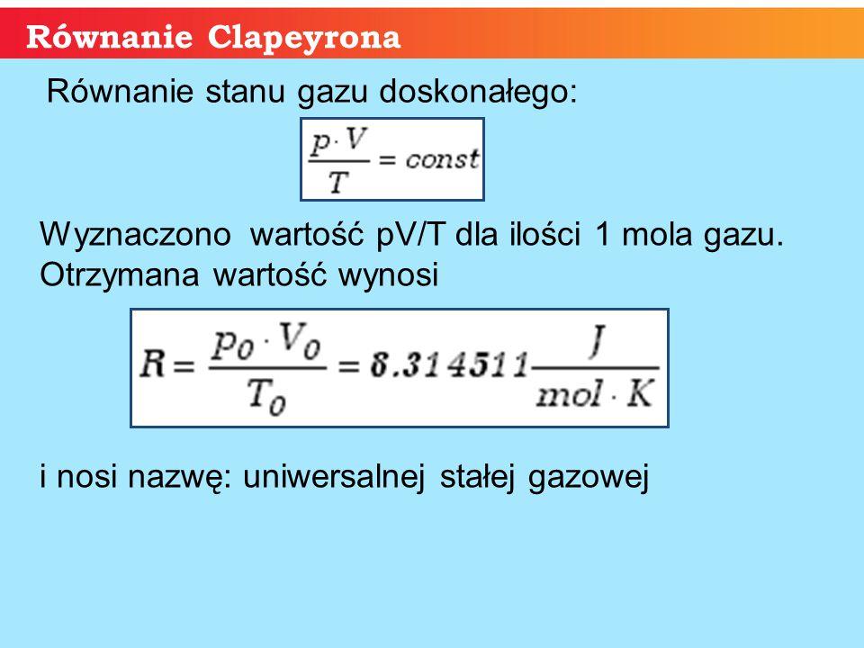 Równanie stanu gazu doskonałego:
