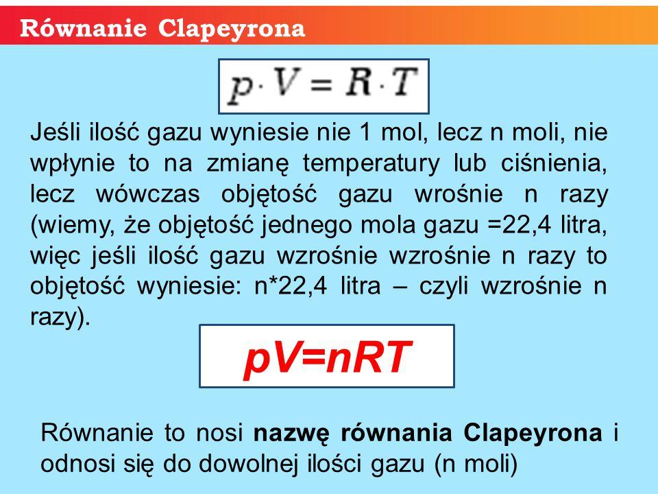 pV=nRT Równanie Clapeyrona