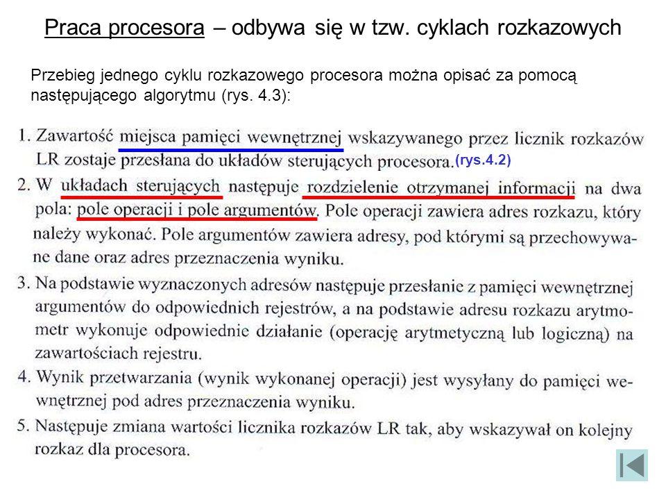 Praca procesora – odbywa się w tzw. cyklach rozkazowych