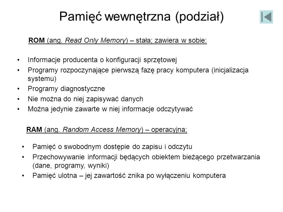 Pamięć wewnętrzna (podział)