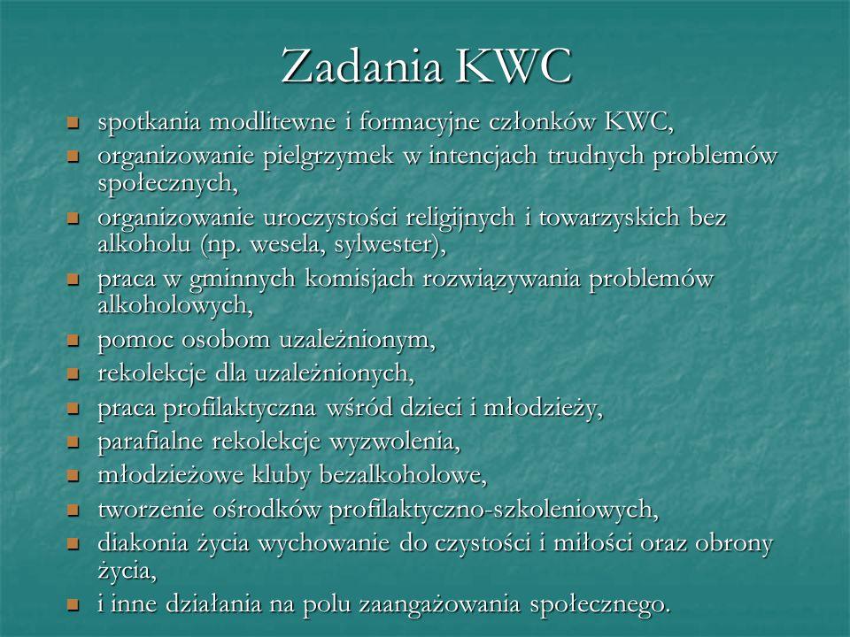 Zadania KWC spotkania modlitewne i formacyjne członków KWC,