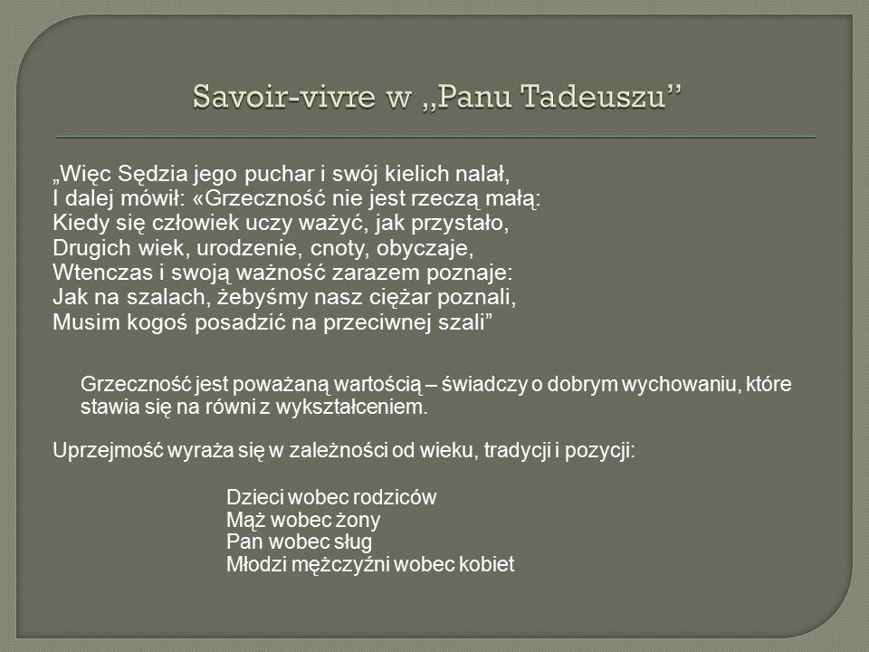"""Savoir-vivre w """"Panu Tadeuszu"""