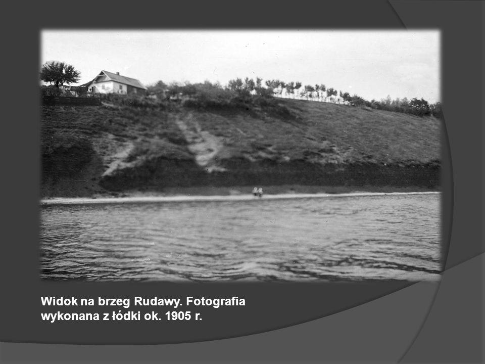 Widok na brzeg Rudawy. Fotografia wykonana z łódki ok. 1905 r.