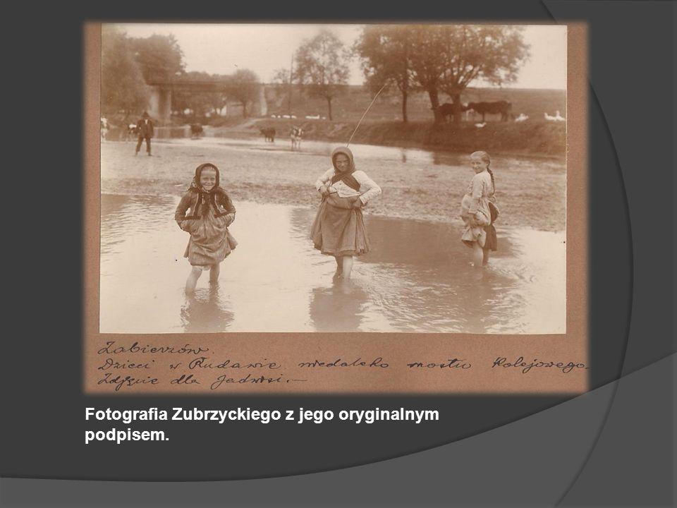 Fotografia Zubrzyckiego z jego oryginalnym podpisem.