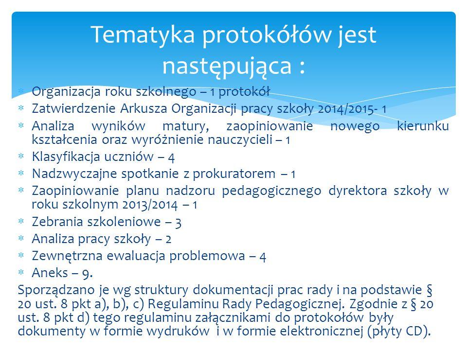 Tematyka protokółów jest następująca :