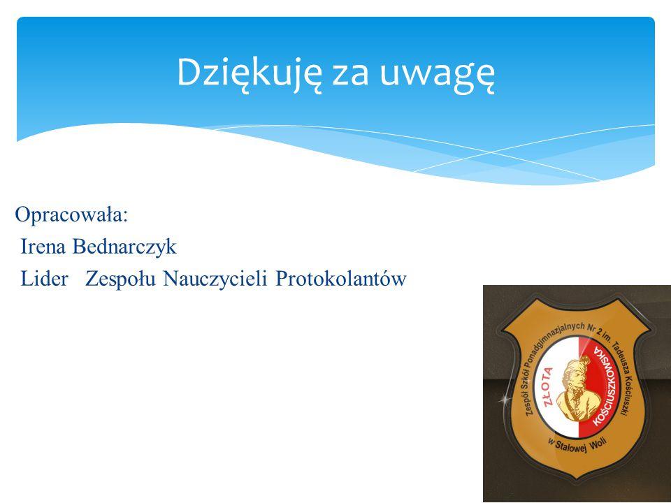 Dziękuję za uwagę Opracowała: Irena Bednarczyk Lider Zespołu Nauczycieli Protokolantów