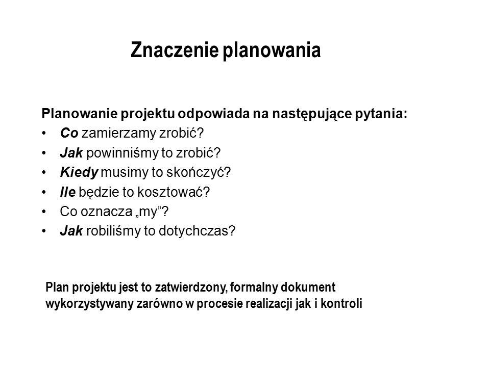 Znaczenie planowania Planowanie projektu odpowiada na następujące pytania: Co zamierzamy zrobić Jak powinniśmy to zrobić
