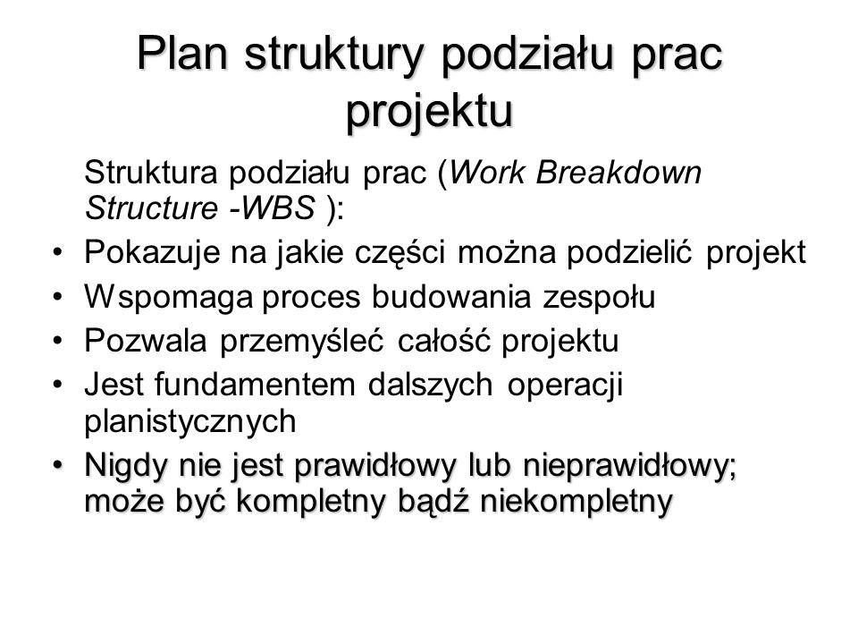 Plan struktury podziału prac projektu