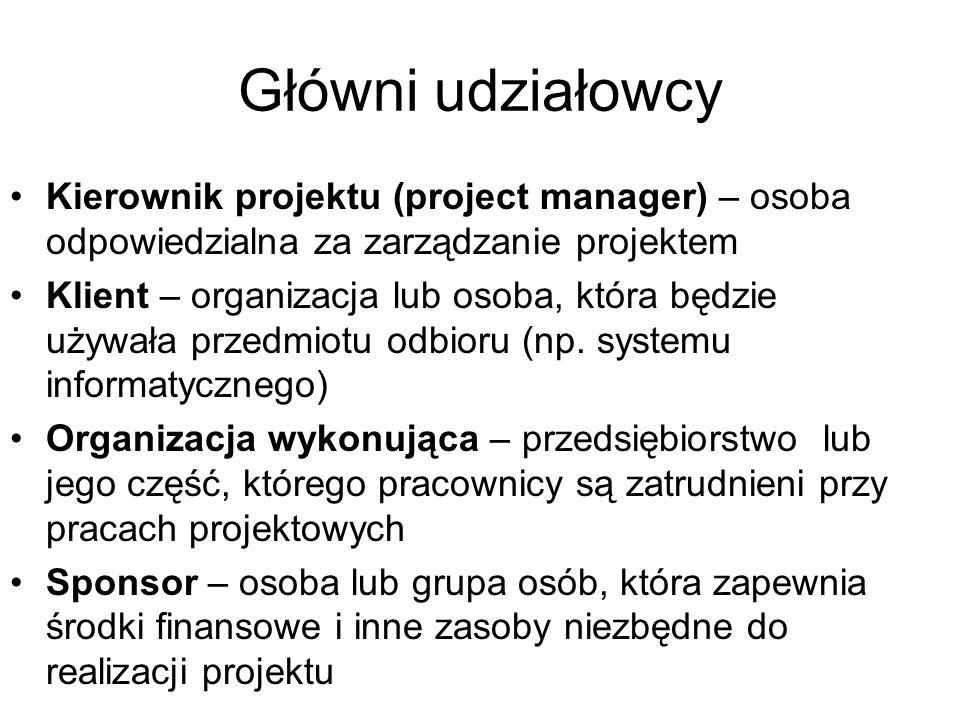 Główni udziałowcy Kierownik projektu (project manager) – osoba odpowiedzialna za zarządzanie projektem.