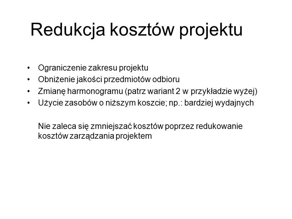 Redukcja kosztów projektu
