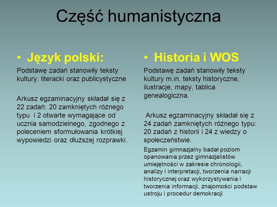 Część humanistyczna Język polski: Historia i WOS