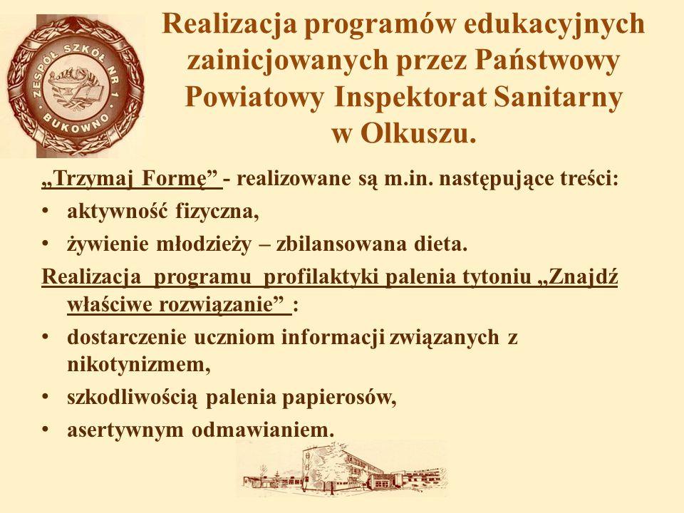 Realizacja programów edukacyjnych zainicjowanych przez Państwowy Powiatowy Inspektorat Sanitarny w Olkuszu.