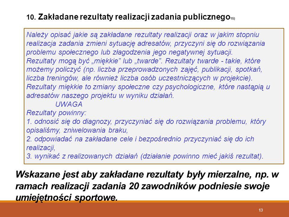 10. Zakładane rezultaty realizacji zadania publicznego15)