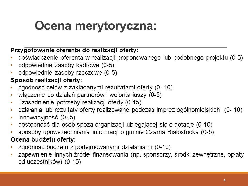 Ocena merytoryczna: Przygotowanie oferenta do realizacji oferty: