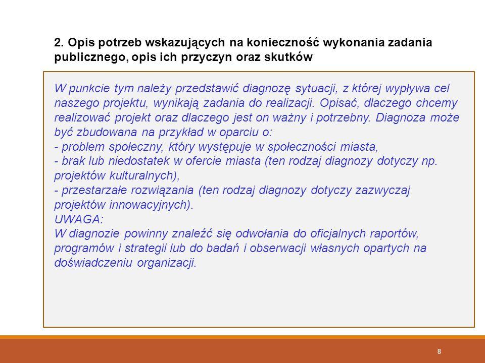 2. Opis potrzeb wskazujących na konieczność wykonania zadania publicznego, opis ich przyczyn oraz skutków