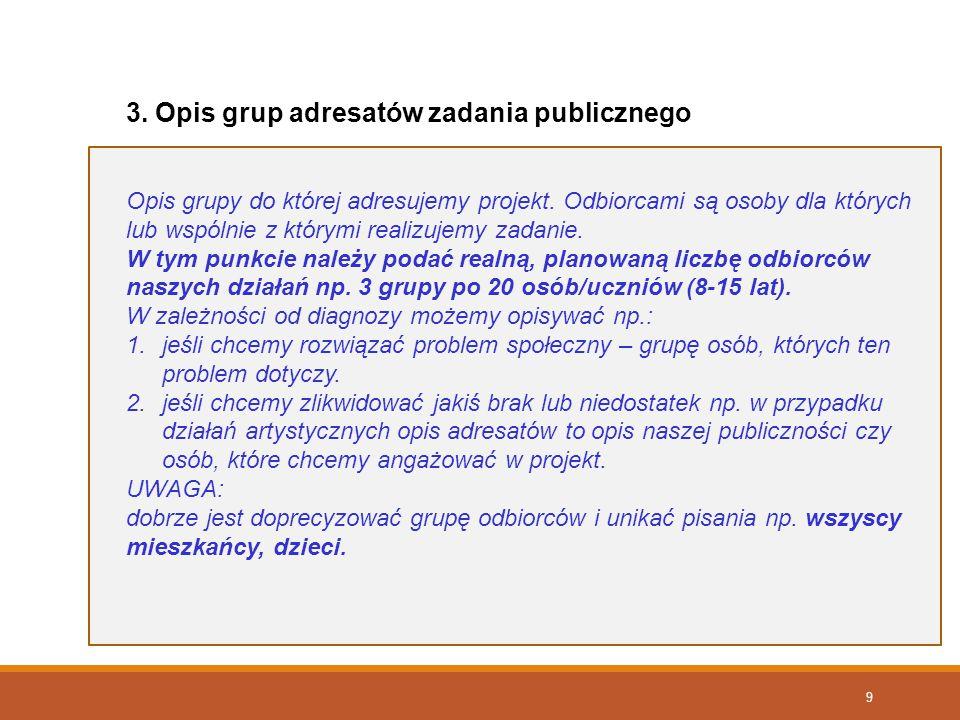 3. Opis grup adresatów zadania publicznego