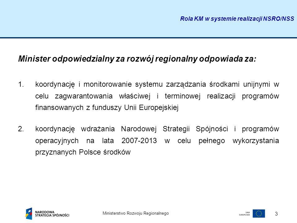 Minister odpowiedzialny za rozwój regionalny odpowiada za: